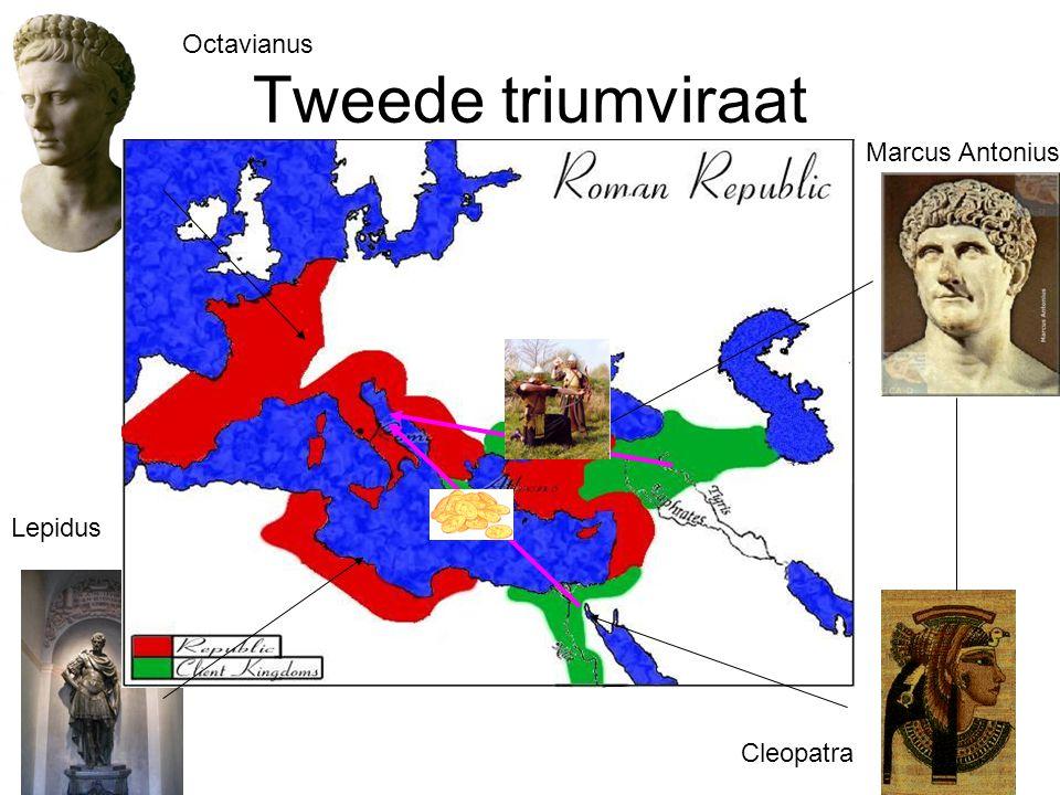 Tweede triumviraat Lepidus Octavianus Marcus Antonius Cleopatra