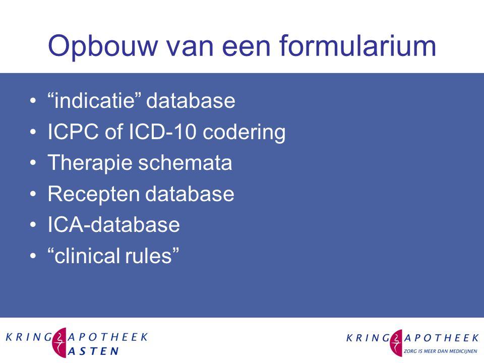 Opbouw van een formularium indicatie database ICPC of ICD-10 codering Therapie schemata Recepten database ICA-database clinical rules