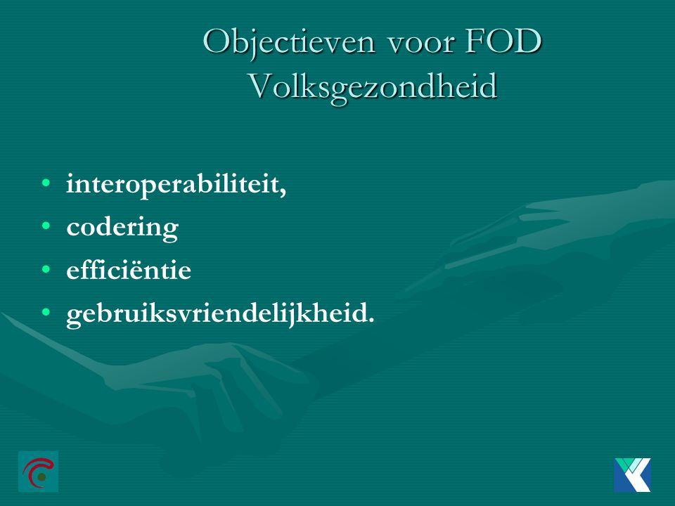 Objectieven voor FOD Volksgezondheid interoperabiliteit, codering efficiëntie gebruiksvriendelijkheid.