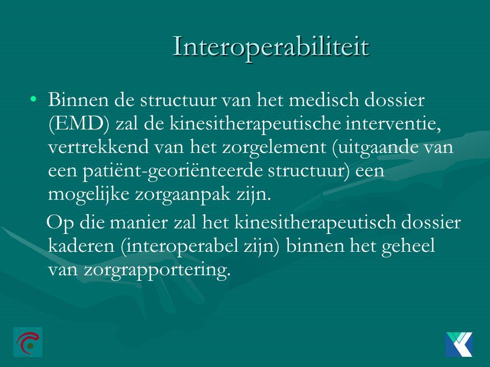 Interoperabiliteit Binnen de structuur van het medisch dossier (EMD) zal de kinesitherapeutische interventie, vertrekkend van het zorgelement (uitgaande van een patiënt-georiënteerde structuur) een mogelijke zorgaanpak zijn.