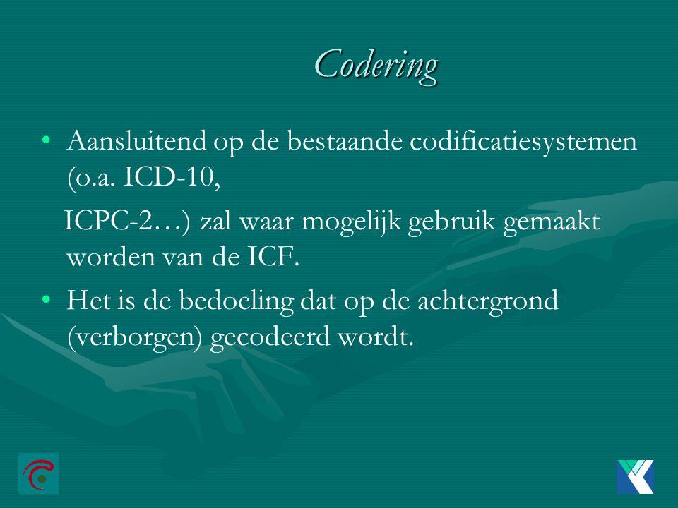 Codering Aansluitend op de bestaande codificatiesystemen (o.a.