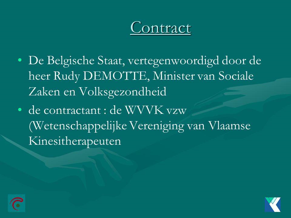 Contract De Belgische Staat, vertegenwoordigd door de heer Rudy DEMOTTE, Minister van Sociale Zaken en Volksgezondheid de contractant : de WVVK vzw (Wetenschappelijke Vereniging van Vlaamse Kinesitherapeuten