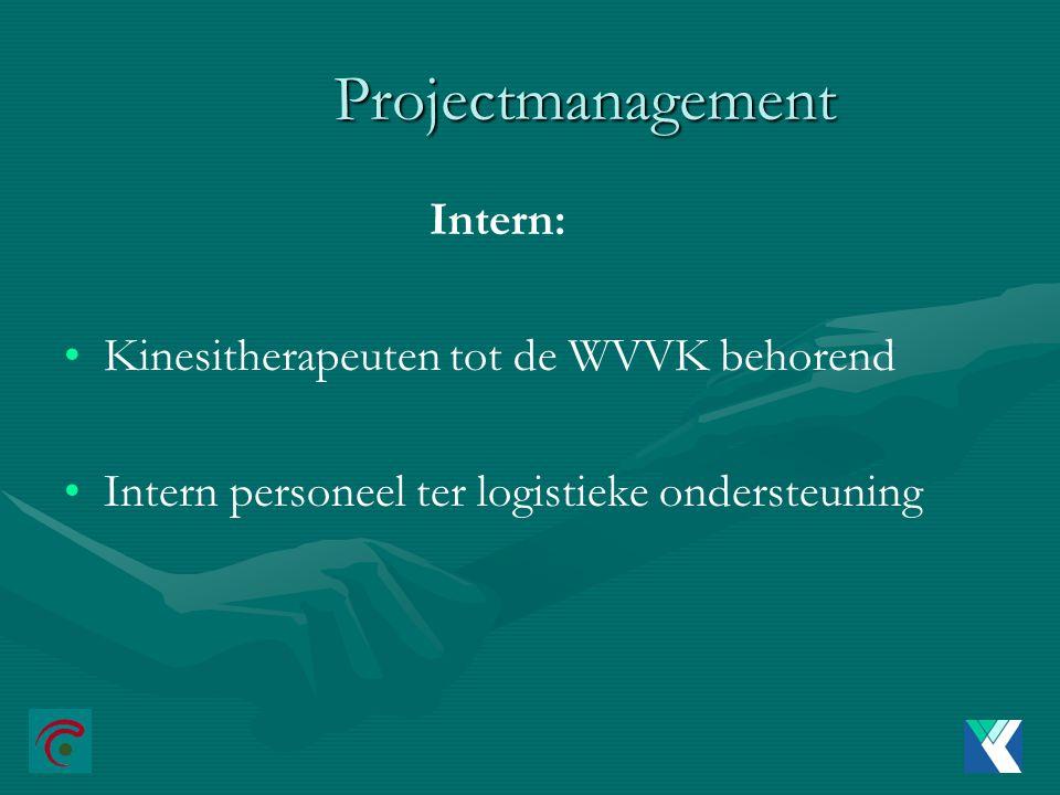 Projectmanagement Intern: Kinesitherapeuten tot de WVVK behorend Intern personeel ter logistieke ondersteuning