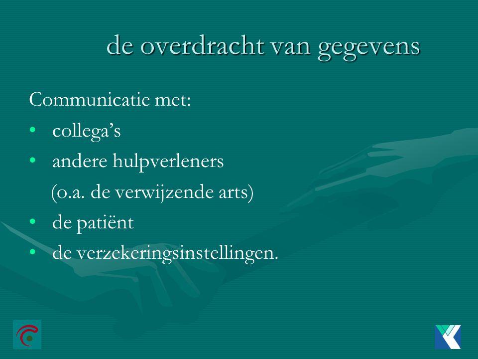 de overdracht van gegevens Communicatie met: collega's andere hulpverleners (o.a.