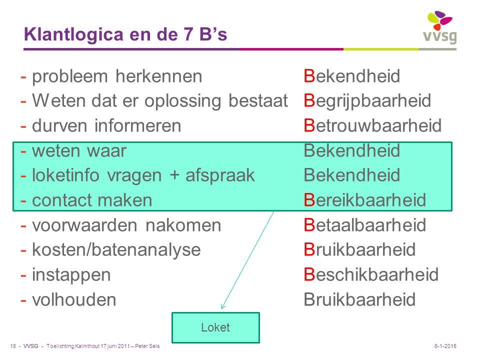VVSG - Klantlogica en de 7 B's - probleem herkennenBekendheid - Weten dat er oplossing bestaatBegrijpbaarheid - durven informerenBetrouwbaarheid - weten waarBekendheid - loketinfo vragen + afspraakBekendheid - contact makenBereikbaarheid - voorwaarden nakomenBetaalbaarheid - kosten/batenanalyseBruikbaarheid - instappenBeschikbaarheid - volhoudenBruikbaarheid Toelichting Kalmthout 17 juni 2011 – Peter Sels18 -6-1-2015 Loket