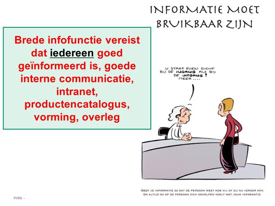 VVSG - Brede infofunctie vereist dat iedereen goed geïnformeerd is, goede interne communicatie, intranet, productencatalogus, vorming, overleg