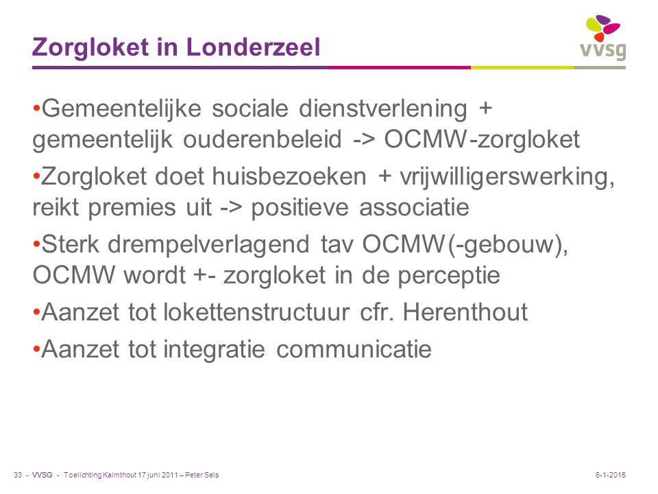 VVSG - Zorgloket in Londerzeel Gemeentelijke sociale dienstverlening + gemeentelijk ouderenbeleid -> OCMW-zorgloket Zorgloket doet huisbezoeken + vrij
