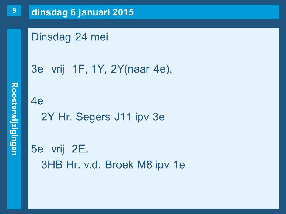 dinsdag 6 januari 2015 Roosterwijzigingen Dinsdag 24 mei 3evrij1F, 1Y, 2Y(naar 4e). 4e 2Y Hr. Segers J11 ipv 3e 5evrij2E. 3HB Hr. v.d. Broek M8 ipv 1e
