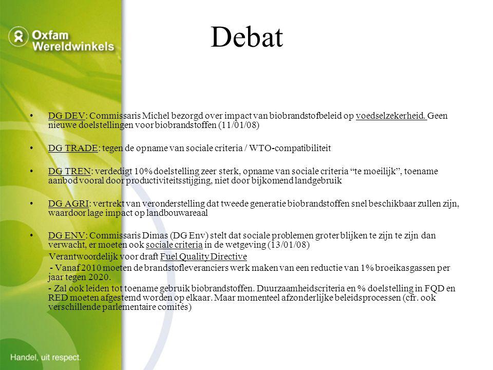 Debat DG DEV: Commissaris Michel bezorgd over impact van biobrandstofbeleid op voedselzekerheid.