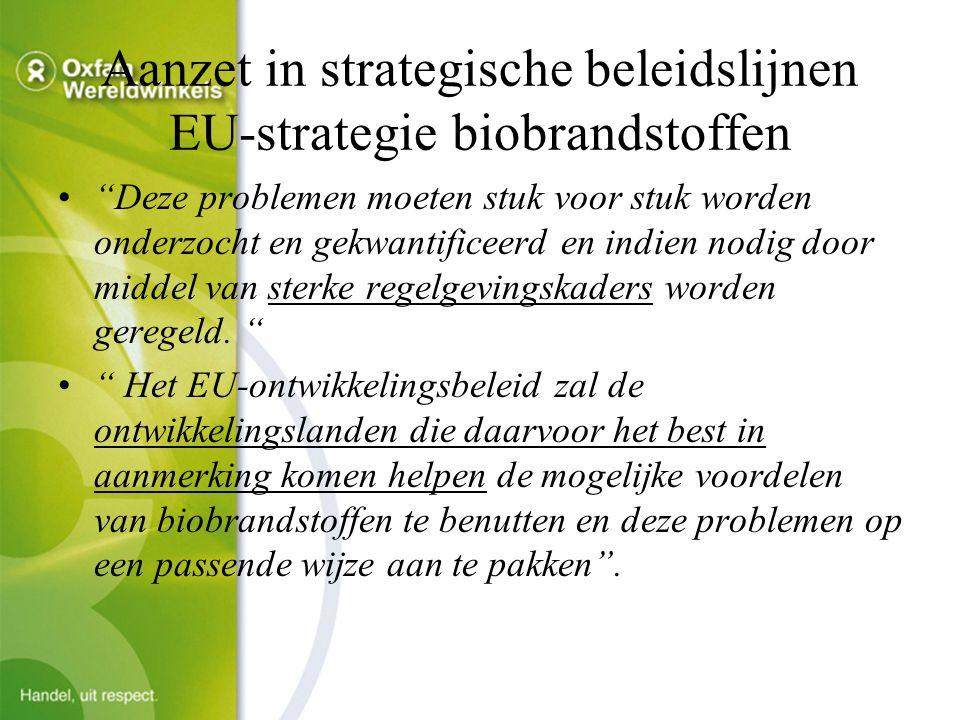 Aanzet in strategische beleidslijnen EU-strategie biobrandstoffen Deze problemen moeten stuk voor stuk worden onderzocht en gekwantificeerd en indien nodig door middel van sterke regelgevingskaders worden geregeld.