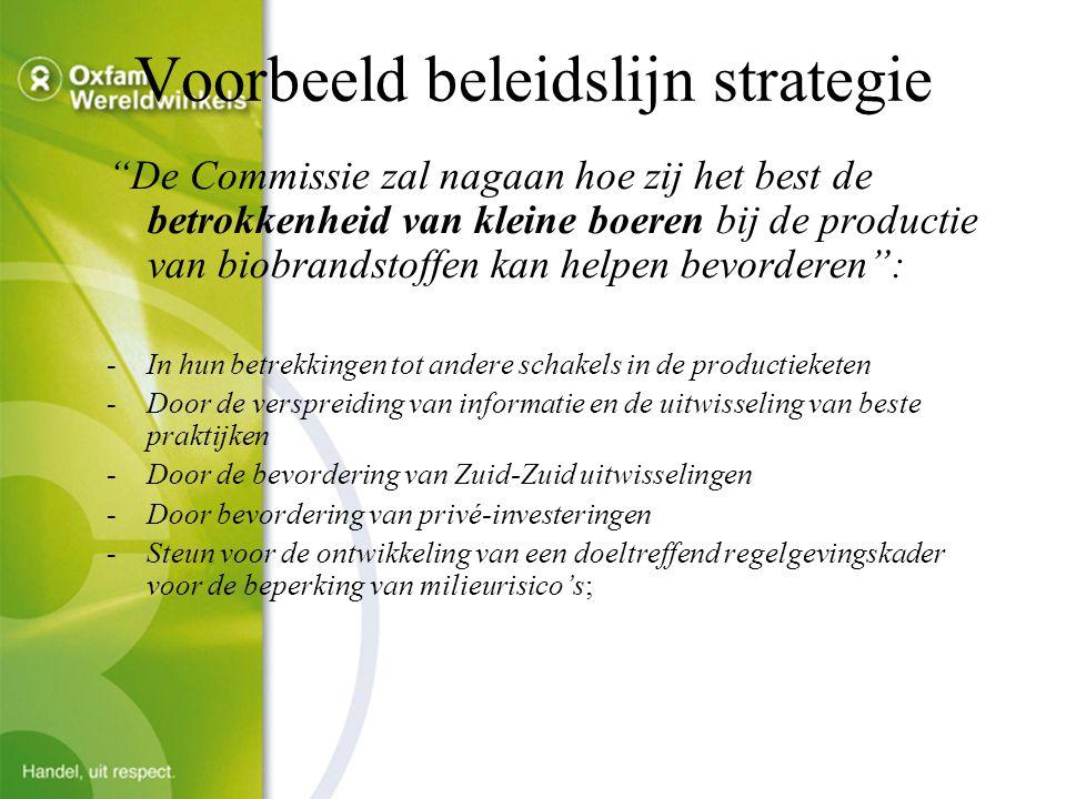 Voorbeeld beleidslijn strategie De Commissie zal nagaan hoe zij het best de betrokkenheid van kleine boeren bij de productie van biobrandstoffen kan helpen bevorderen : -In hun betrekkingen tot andere schakels in de productieketen -Door de verspreiding van informatie en de uitwisseling van beste praktijken -Door de bevordering van Zuid-Zuid uitwisselingen -Door bevordering van privé-investeringen -Steun voor de ontwikkeling van een doeltreffend regelgevingskader voor de beperking van milieurisico's;