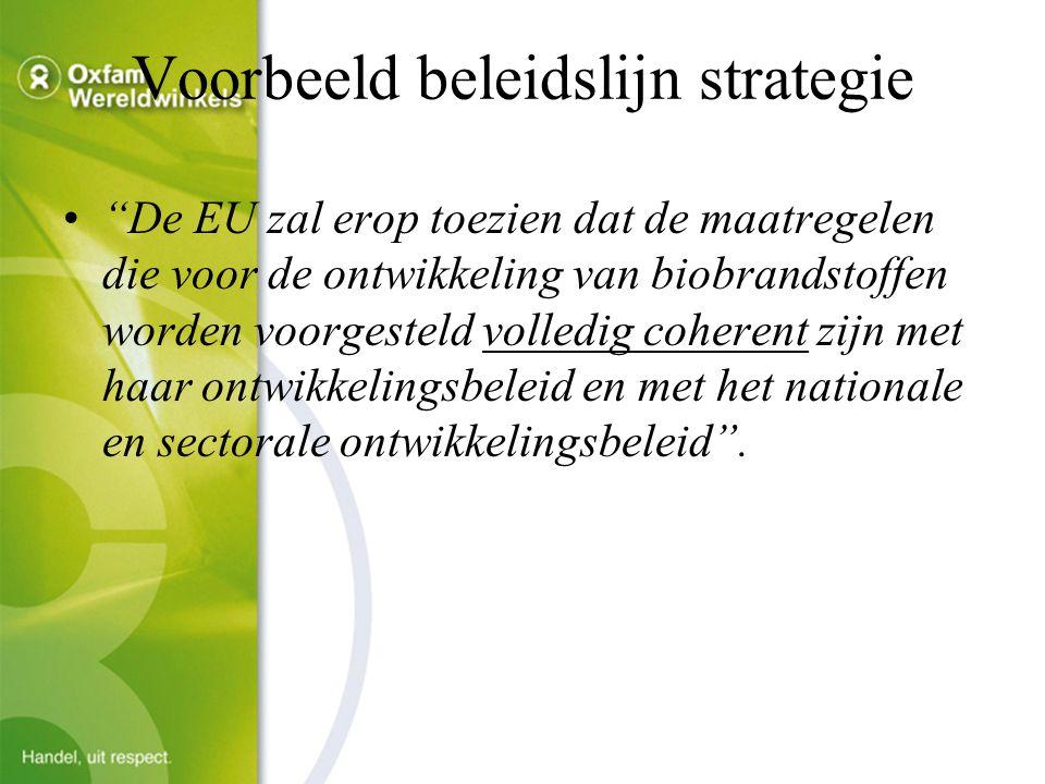 Voorbeeld beleidslijn strategie De EU zal erop toezien dat de maatregelen die voor de ontwikkeling van biobrandstoffen worden voorgesteld volledig coherent zijn met haar ontwikkelingsbeleid en met het nationale en sectorale ontwikkelingsbeleid .