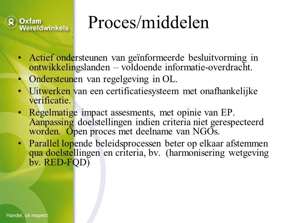 Proces/middelen Actief ondersteunen van geïnformeerde besluitvorming in ontwikkelingslanden – voldoende informatie-overdracht.