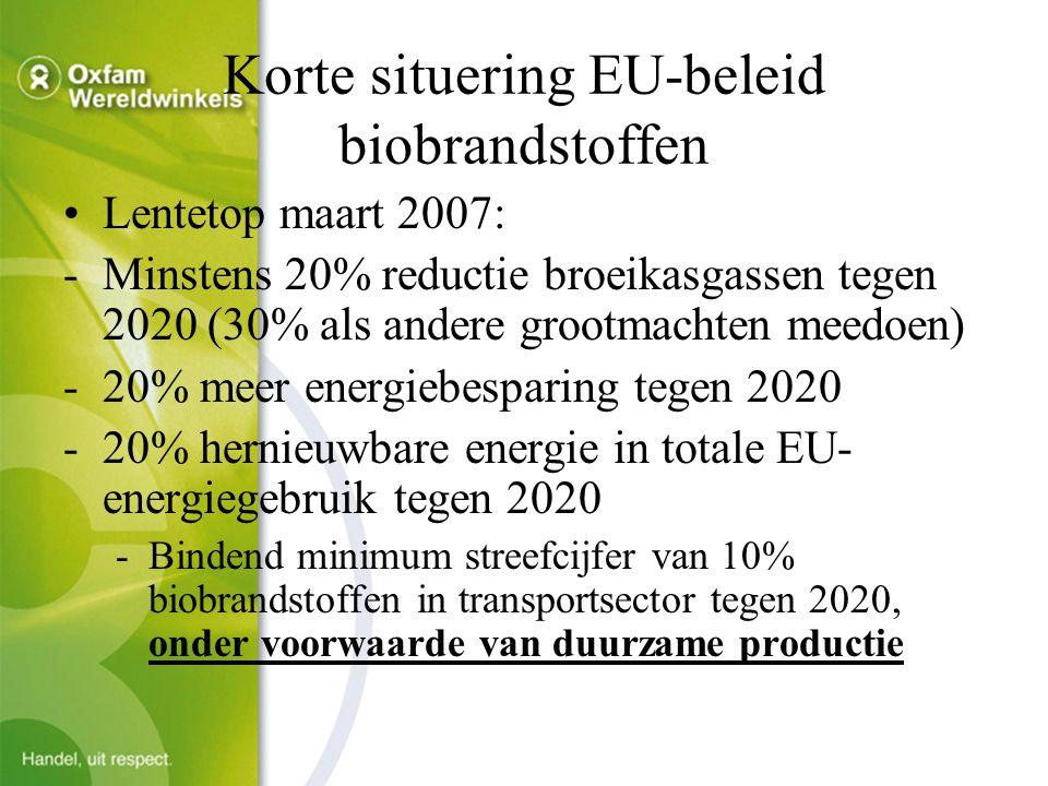Korte situering EU-beleid biobrandstoffen Lentetop maart 2007: -Minstens 20% reductie broeikasgassen tegen 2020 (30% als andere grootmachten meedoen) -20% meer energiebesparing tegen 2020 -20% hernieuwbare energie in totale EU- energiegebruik tegen 2020 -Bindend minimum streefcijfer van 10% biobrandstoffen in transportsector tegen 2020, onder voorwaarde van duurzame productie