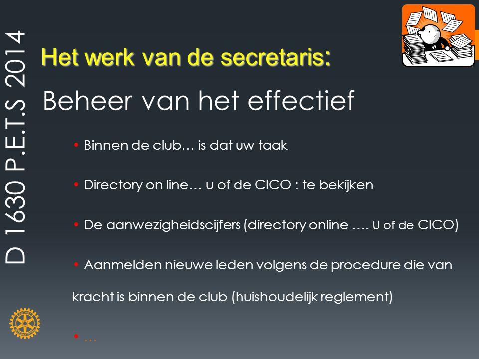 Het werk van de secretaris : Beheer van het effectief Binnen de club… is dat uw taak Directory on line… u of de CICO : te bekijken De aanwezigheidscij