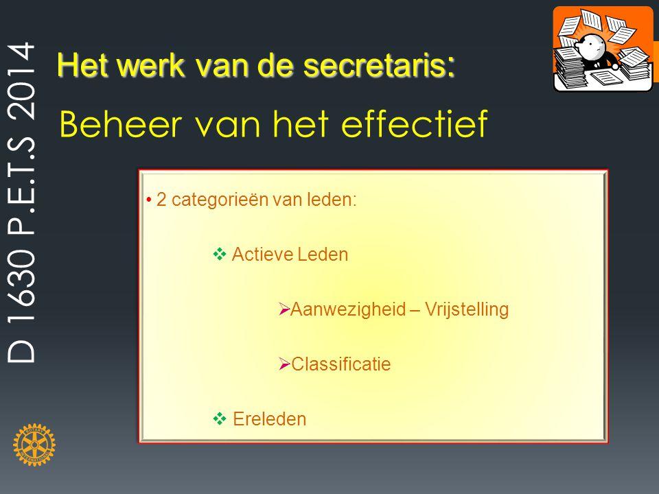 Het werk van de secretaris : Beheer van het effectief 2 categorieën van leden:  Actieve Leden  Aanwezigheid – Vrijstelling  Classificatie  Erelede