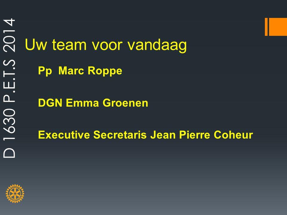 Uw team voor vandaag Pp Marc Roppe DGN Emma Groenen Executive Secretaris Jean Pierre Coheur D 1630 P.E.T.S 2014