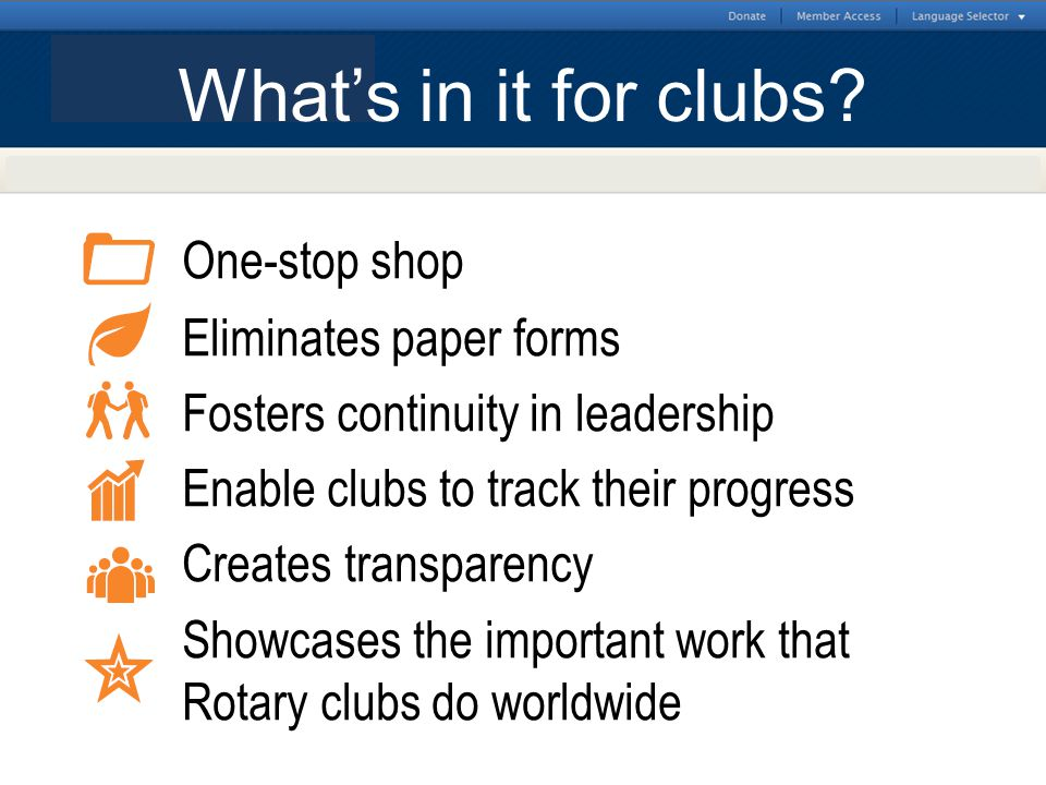 District-level Features One-stop shop Eliminates paper forms Fosters continuity in leadership Enable clubs to track their progress Creates transparenc