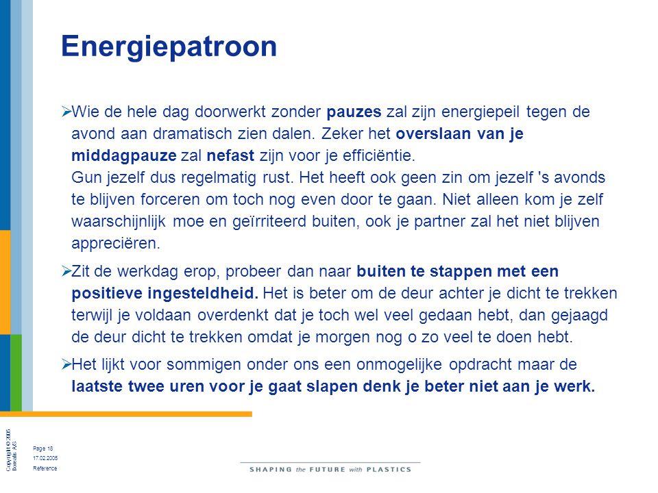 Copyright © 2005 Borealis A/S Page 18 17.02.2005 Reference Energiepatroon  Wie de hele dag doorwerkt zonder pauzes zal zijn energiepeil tegen de avon