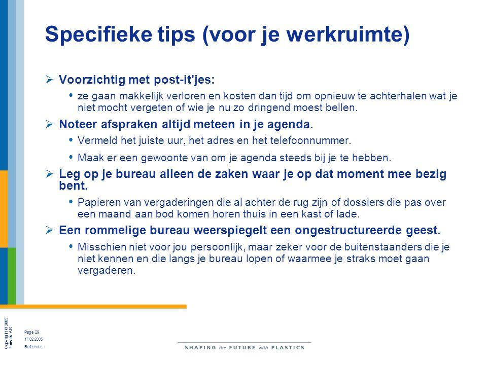 Copyright © 2005 Borealis A/S Page 29 17.02.2005 Reference Specifieke tips (voor je werkruimte)  Voorzichtig met post-it'jes: ze gaan makkelijk verlo