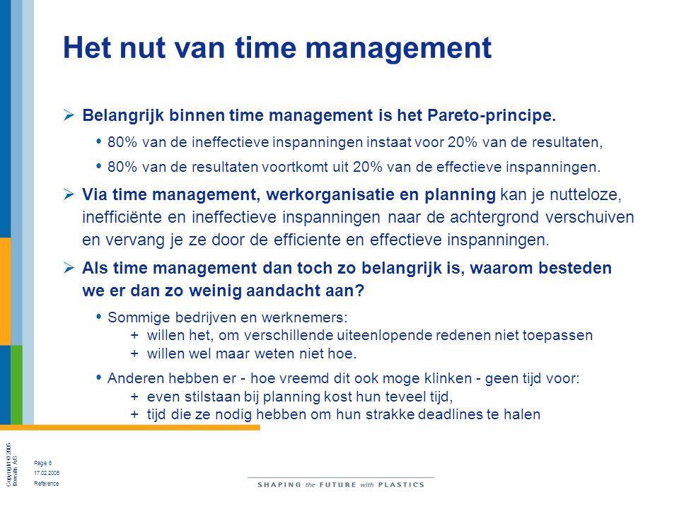 Copyright © 2005 Borealis A/S Page 6 17.02.2005 Reference Het nut van time management  Belangrijk binnen time management is het Pareto-principe. 80%