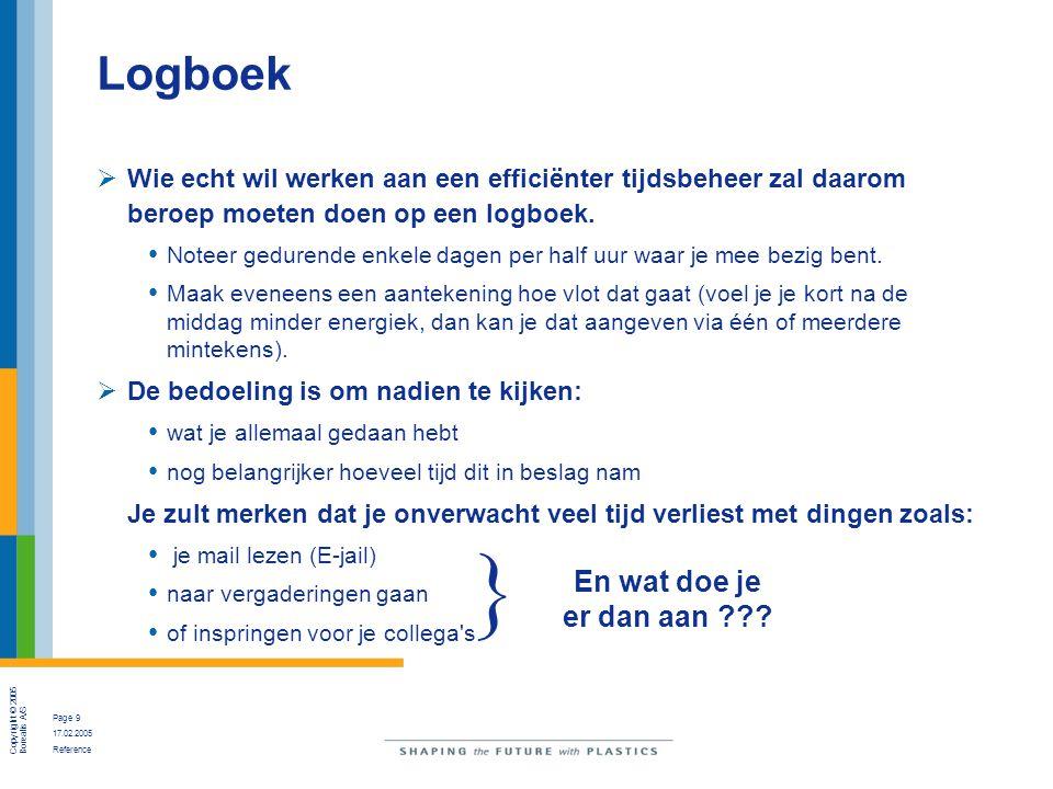 Copyright © 2005 Borealis A/S Page 9 17.02.2005 Reference Logboek  Wie echt wil werken aan een efficiënter tijdsbeheer zal daarom beroep moeten doen