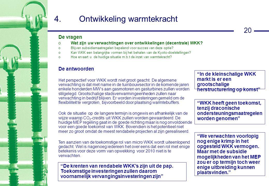 20 4.Ontwikkeling warmtekracht De antwoorden Het perspectief voor WKK wordt niet groot geacht.