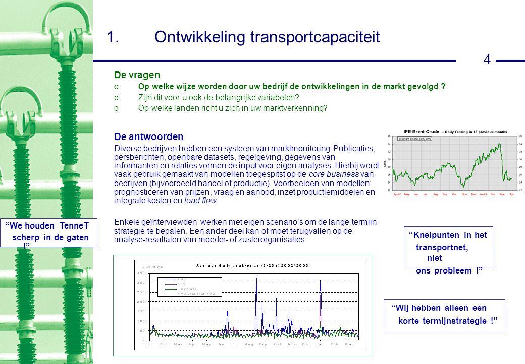 4 1.Ontwikkeling transportcapaciteit De antwoorden Diverse bedrijven hebben een systeem van marktmonitoring.