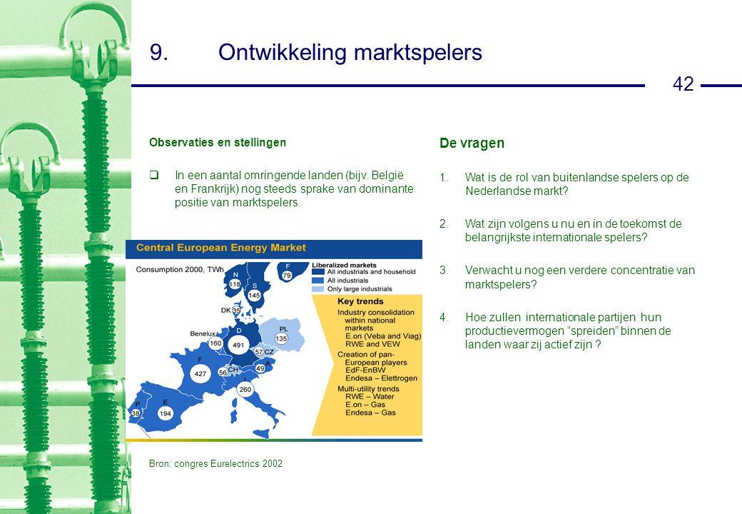 42 9.Ontwikkeling marktspelers Observaties en stellingen  In een aantal omringende landen (bijv.