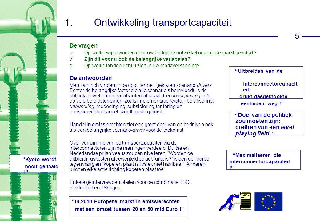 5 1.Ontwikkeling transportcapaciteit De antwoorden Men kan zich vinden in de door TenneT gekozen scenario-drivers.