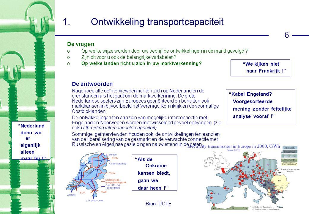 6 1.Ontwikkeling transportcapaciteit Bron: UCTE We kijken niet naar Frankrijk ! De vragen oOp welke wijze worden door uw bedrijf de ontwikkelingen in de markt gevolgd .