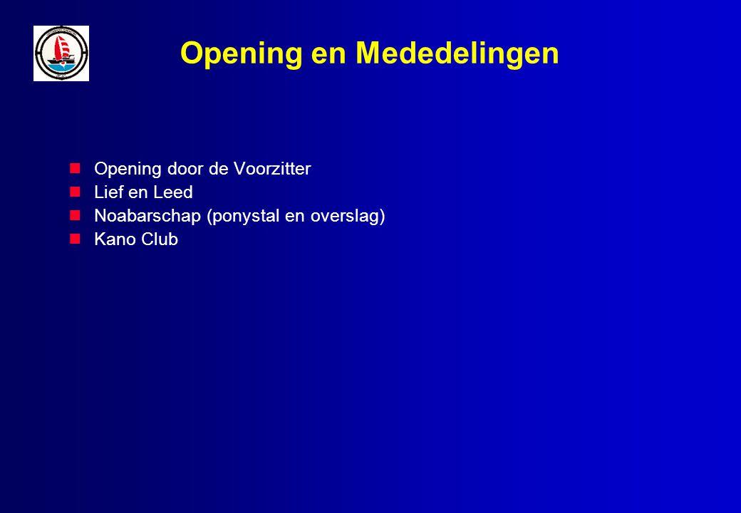 Opening en Mededelingen Opening door de Voorzitter Lief en Leed Noabarschap (ponystal en overslag) Kano Club