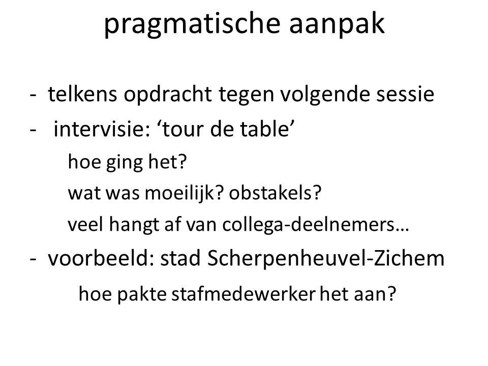 pragmatische aanpak -telkens opdracht tegen volgende sessie - intervisie: 'tour de table' hoe ging het? wat was moeilijk? obstakels? veel hangt af van