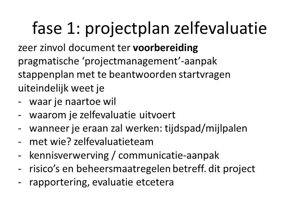 fase 1: projectplan zelfevaluatie zeer zinvol document ter voorbereiding pragmatische 'projectmanagement'-aanpak stappenplan met te beantwoorden start