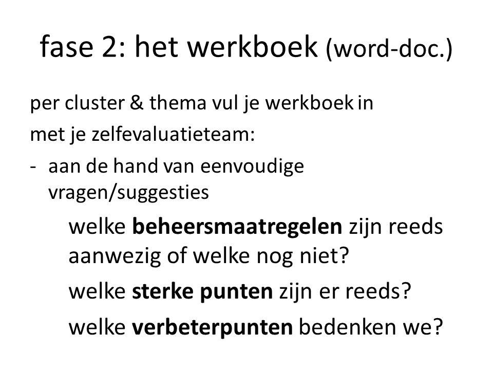 fase 2: het werkboek (word-doc.) per cluster & thema vul je werkboek in met je zelfevaluatieteam: -aan de hand van eenvoudige vragen/suggesties welke