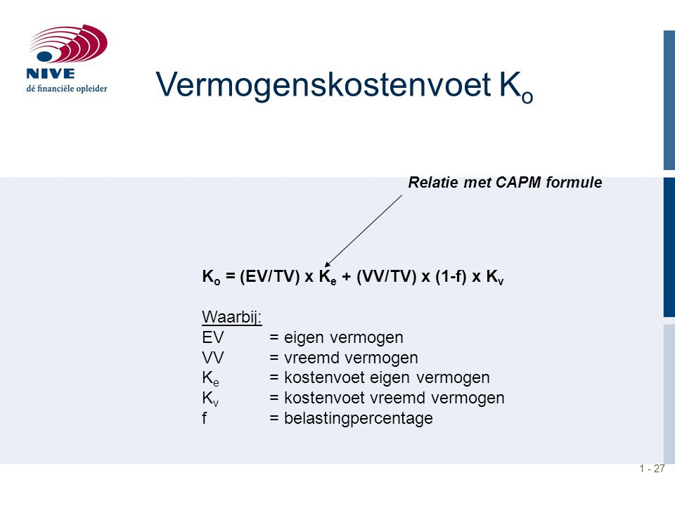 1 - 27 Vermogenskostenvoet K o K o = (EV/TV) x K e + (VV/TV) x (1-f) x K v Waarbij: EV = eigen vermogen VV = vreemd vermogen K e = kostenvoet eigen vermogen K v = kostenvoet vreemd vermogen f = belastingpercentage Relatie met CAPM formule