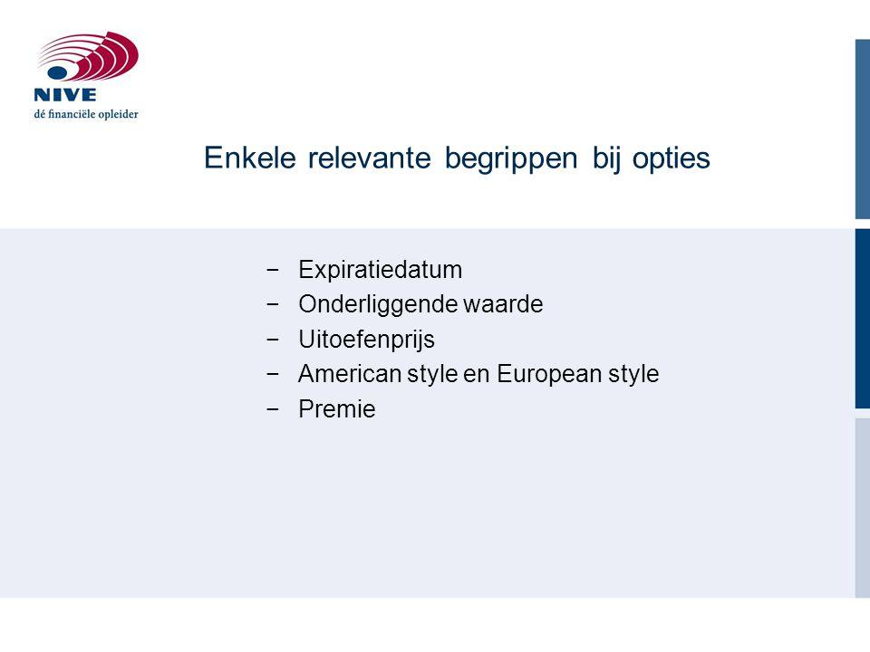 Enkele relevante begrippen bij opties −Expiratiedatum −Onderliggende waarde −Uitoefenprijs −American style en European style −Premie