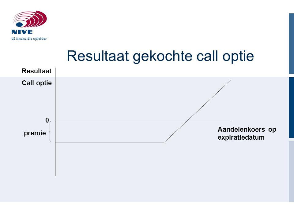 Resultaat gekochte call optie Aandelenkoers op expiratiedatum premie Resultaat Call optie 0