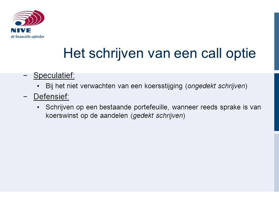 Het schrijven van een call optie −Speculatief: Bij het niet verwachten van een koersstijging (ongedekt schrijven) −Defensief: Schrijven op een bestaan
