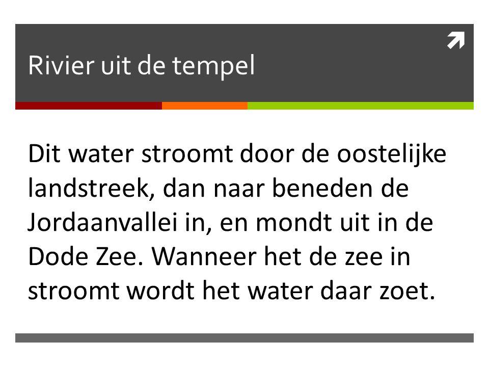  Rivier uit de tempel Dit water stroomt door de oostelijke landstreek, dan naar beneden de Jordaanvallei in, en mondt uit in de Dode Zee. Wanneer het