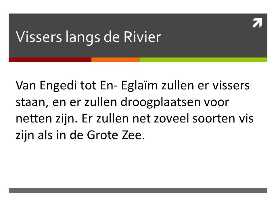  Vissers langs de Rivier Van Engedi tot En- Eglaïm zullen er vissers staan, en er zullen droogplaatsen voor netten zijn. Er zullen net zoveel soorten