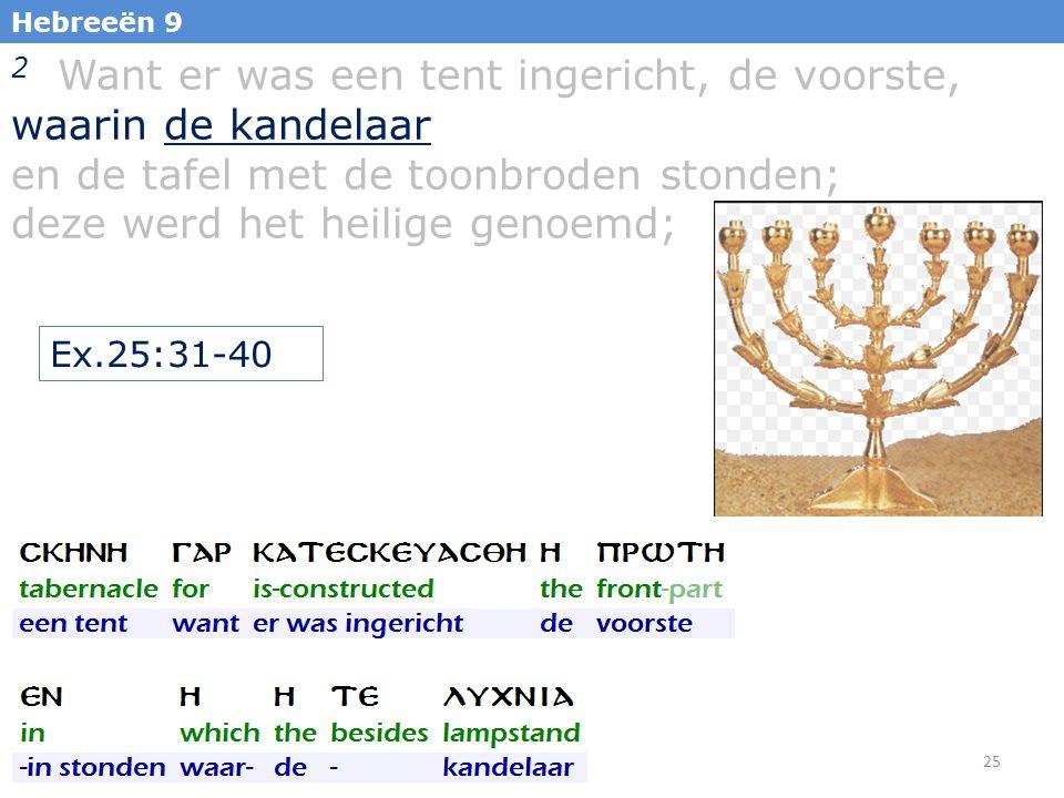 25 Hebreeën 9 2 Want er was een tent ingericht, de voorste, waarin de kandelaar en de tafel met de toonbroden stonden; deze werd het heilige genoemd; Ex.25:31-40