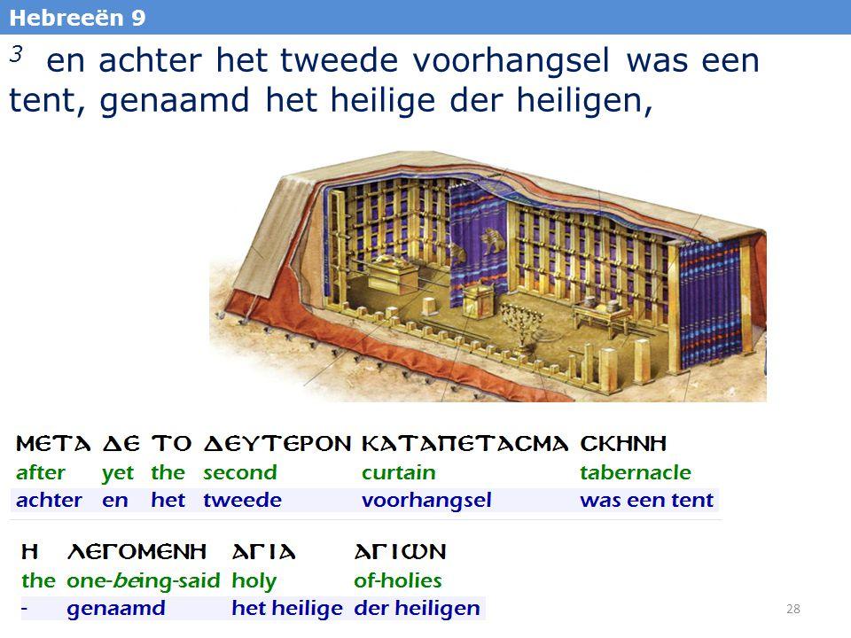 28 Hebreeën 9 3 en achter het tweede voorhangsel was een tent, genaamd het heilige der heiligen,