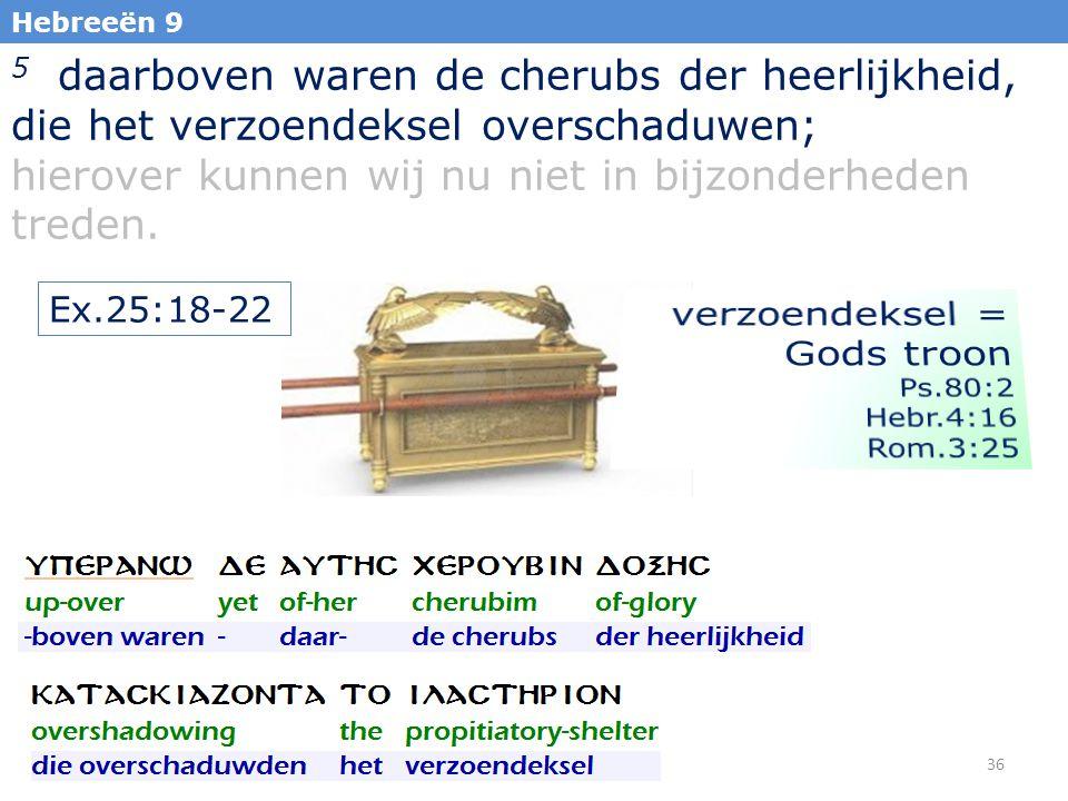 36 Hebreeën 9 5 daarboven waren de cherubs der heerlijkheid, die het verzoendeksel overschaduwen; hierover kunnen wij nu niet in bijzonderheden treden.