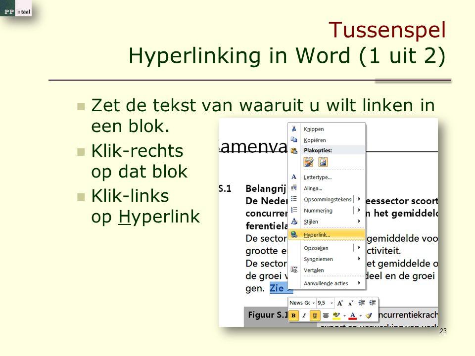 Tussenspel Hyperlinking in Word (1 uit 2) 23 Zet de tekst van waaruit u wilt linken in een blok. Klik-rechts op dat blok Klik-links op Hyperlink