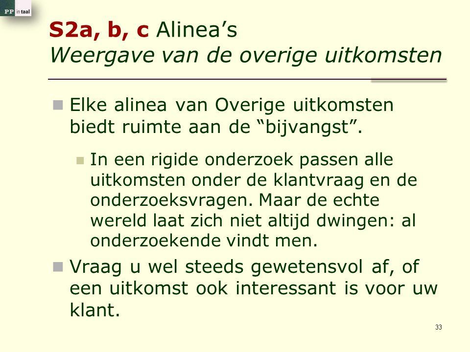 """S2a, b, c Alinea's Weergave van de overige uitkomsten Elke alinea van Overige uitkomsten biedt ruimte aan de """"bijvangst"""". In een rigide onderzoek pass"""
