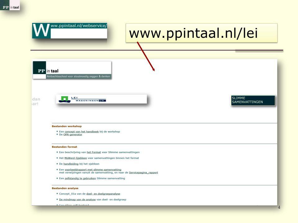 4 www.ppintaal.nl/lei