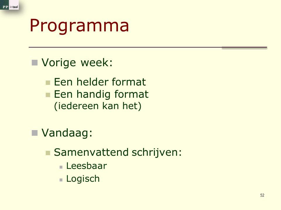 Programma Vorige week: Een helder format Een handig format (iedereen kan het) Vandaag: Samenvattend schrijven: Leesbaar Logisch 52
