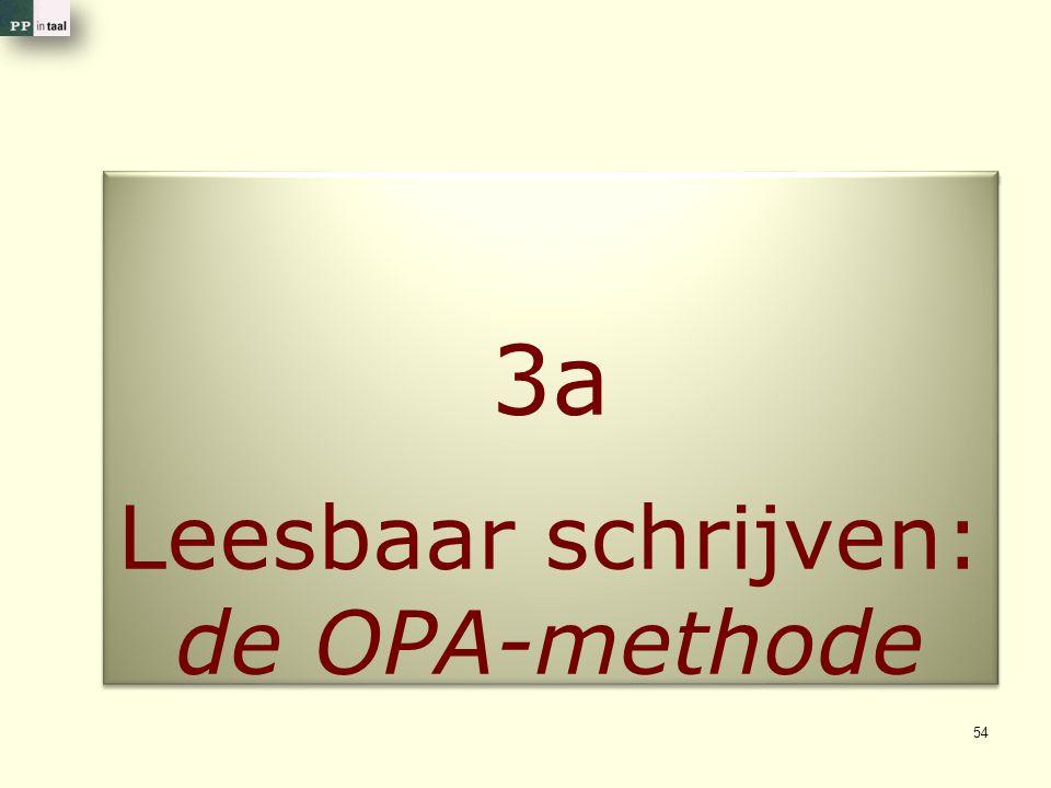 3a Leesbaar schrijven: de OPA-methode 3a Leesbaar schrijven: de OPA-methode 54