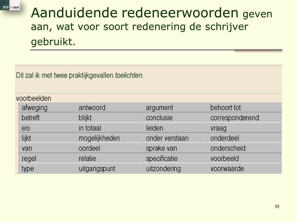 Aanduidende redeneerwoorden geven aan, wat voor soort redenering de schrijver gebruikt. 88